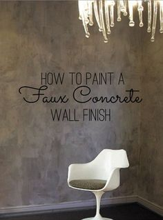 Room with Faux Concrete Wall Paint Finish                                                                                                                                                                                 More