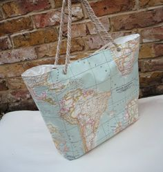 Custom Order for Betty Oilcloth Tote Bag World Map by KTmakes