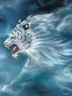 El león blanco. Con movimiento.