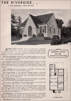 Sears Riverside - English Cottage Style - 1930s Kit Homes - Small House Plan