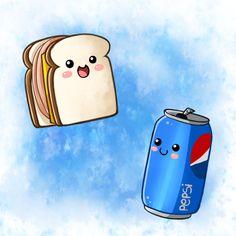 Cute Food- Sandwich and Pepsi by PPGxRRB-FAN.deviantart.com on @deviantART