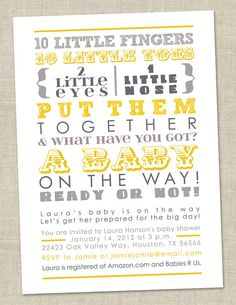 Baby Shower Invitation - words, gender neutral gray yellow (Printable Digital File OR Printed Cards) on Etsy, $14.00