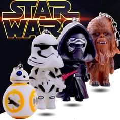 Classic Star Wars Awakens Keychain BB8 Stormtrooper Darth Vader Chewbacca PVC Pendant Keychain Action Figure Toys Keyring ZKSW4S