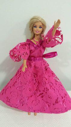 Pink lace ball dress