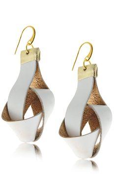 ELEANNA KATSIRA KNOTTY Light Grey Leather Earrings - ACCESSORIES | JEWELRY | Earrings | Pierced | PRET-A-BEAUTE.COM