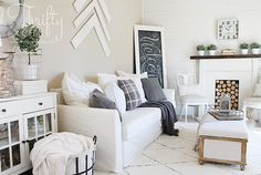 Ilea Holmstund Sofa Bed. White farmhouse decorating ideas for the living room with DIY shiplap and faux fireplace