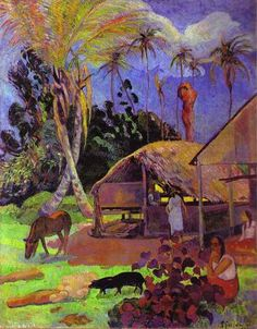 Black pigs - Paul Gauguin, 1891