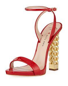 553f6f6e15d38 995 2019 Rita Ora + Giuseppe Zanotti Patent Leather Chain-Heel Sandals at  Neiman Marcus