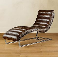 Oviedo Chaise Vintage Cigar Leather $2295 - $2305Special $1695 - $1895  Our chaise bridges mid-century modern and 21st-century industrial design. Crafted of supple leather Woven leather suspension system Sleek chrome base Channel-stitched, leather-wrapped seat cushion Gentle curves hug the body for maximum comfort Stunning in the bedroom, den or living room
