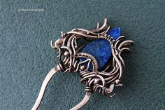 Copper hair pin with beautiful lapis lazuli - copper wirewrapped pin for hair  - gift for her - for hair - for women