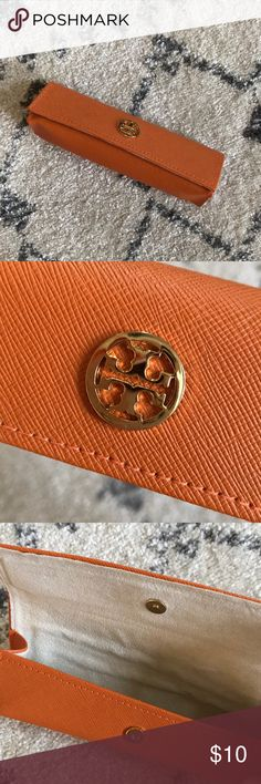 Tory Burch Eyeglass/Lipstick Case Perfect for eyeglasses or lipstick/lipgloss! Classic Tory orange with gold logo. Excellent condition! Tory Burch Accessories