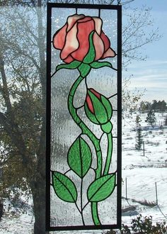 Rose Panel - by Ladybug Stained Glass