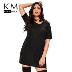 c1031d839725 Kissmilk Women Plus size Black Punk Style Choker Dress Short Sleeves T-shirt  Dress Loose Fit Solid Girl Party Dress 4XL 5XL 6XL