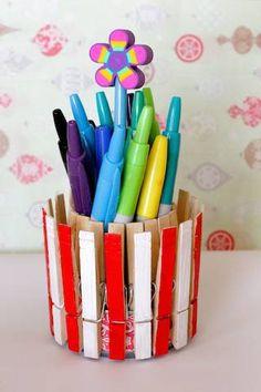 Lapicero con pinzas de ropa #Crafts #manualidades #MaterialesReciclados