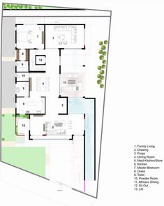 Bungalow House Design, Modern Bungalow, Courtyard House Plans, Facade House, Home Design Plans, Plan Design, Architecture Plan, Residential Architecture, Circle House