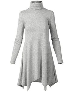 Basic Turtle Neck Flowy Long Sleeve Sweater Short Dresses ** Find out more about the great product at the image link.