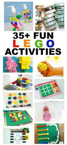 Lego Activities: ways to have fun with Lego play. From crafts, to books, to building challenges and more! Kids will have hours of fun making Lego soap dispensers and playing Lego games. Lego For Kids, Diy For Kids, Legos, Lego Books, Lego Challenge, Lego Craft, Lego Games, Lego Birthday Party, Fun Activities For Kids