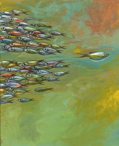 Art by Shino Ariha I like how the group of fish parted for the one lone fish rather than having one fish just outside the group of fishes.  #againstthecrowd