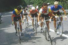 Luis Herrera, Bernard Hinault y Lauren Fignon durante el Tour de Francia de 1984 en la subida al Alpe d'Huez. El ciclista Colombia fue finalmente quien se llevó la gloria y puso su nombre en la historia del puerto de las 21 curvas.