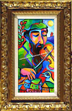 Chai Fiddler, Jewish original oil painting by artist Martina Shapiro. contemporary, expressionist, abstract Jewish fine art.
