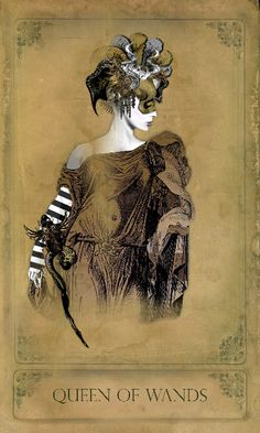 from The Sepia Stains Tarot Deck. The Queen of Wands.