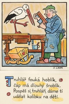 Kalamajka – Truhlář fouká hoblík, 1913 Bohemian Art, Illustrators, Clip Art, Graphic Design, Comics, Retro, Folklore, Reading, Books