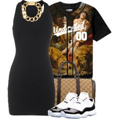 A fashion look from August 2014 featuring The Row dresses, Concord shoes and Gucci handbags. Browse and shop related looks.