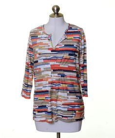 Liz Claiborne Multi-Color Artsy Print Soft Knit Tunic Top Size PL #LizClaiborne #KnitTop #Casual