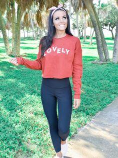 Red Crop Hoodie Black Ribbed Leggings Madison Slip On Sneakers Bandana Headband