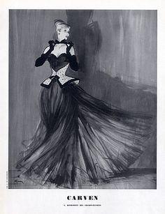 Carven 1947 René Gruau, Strapless Dress by René Gruau | Hprints.com
