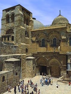 The facade of the church of the Holy Sepulcher in Jerusalem - the stairs on the right of the bldg was where we took our group picture
