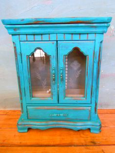 Vintage Jewelry Box Distressed in Turquoise by VintageChichibean,