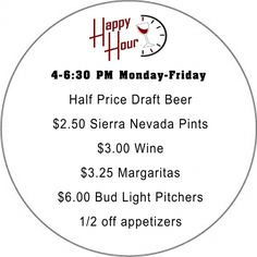 Custom Happy Hour Drink and Food Menu Board : Front