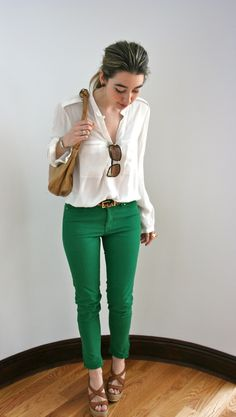 Love the emerald jean and loose silk top. Very daytime chic. Not overly done.
