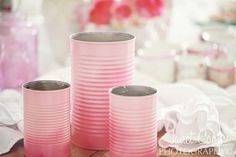 Shabbyfufu - LOVE the idea of spray painting tin cans this color pink!