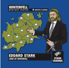 Ned Stark's forecast winter is coming, game of thrones, gamers, gaming, geek humor