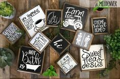 Rustic farmhouse style signs now in two sizes Tiered tray image 1 Rustic Farmhouse, Farmhouse Style, Farmhouse Signs, I Love Your Face, Stencils, Have Courage And Be Kind, Style Rustique, Youre My Person, Thankful And Blessed