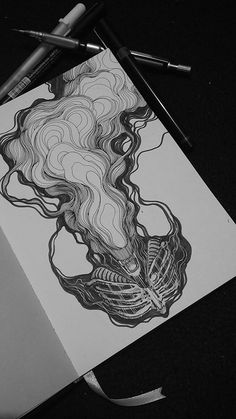 Behance smoke drawing, sketchbook inspiration, art sketchbook, pen art, s. Inspiration Drawing, Sketchbook Inspiration, Drawing Ideas, Smoke Drawing, Black Pen Drawing, Art Sketches, Art Drawings, Moleskine Sketchbook, Sketchbooks
