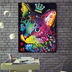 Watercolor Cat Canvas Painting Modern Abstract Animal Oil Painting on Wall Art Poster and Print  for Kids Room Wall home Decor Abstract Animals, Abstract Art, Types Of Art Styles, Watercolor Cat, Kids Room Wall Art, Art Pages, Animal Paintings, Canvas Wall Art, Art Decor