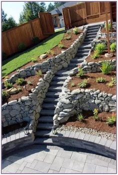 The mesmerizing Stone Block Steps For A Steep Location Sloped Garden With Steep Hillside Landscaping Ideas images below, is section … Sloped Backyard Landscaping, Landscaping Retaining Walls, Sloped Garden, Landscaping Ideas, Terraced Landscaping, Steep Hillside Landscaping, Landscaping On A Hill, Garden Stairs, Balcony Garden
