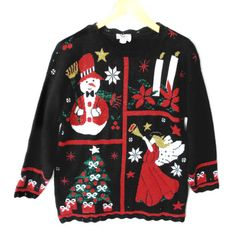 Vintage 80s Angel and Snowman Sparkle Tacky Ugly Christmas Sweater