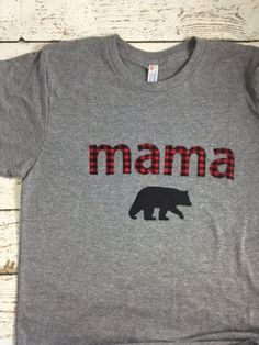 New lil threadz design posted! mama bear mama bear shirt Mom shirt mommy shirt mom life buffalo plaid  baby shower gift mommy to be vneck shirt mother's day gift by lilthreadzclothing