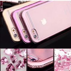 Pink iPhone 6+ case Flexible gold and Crystal iPhone case for 6+, 6, 5s, and 5. Beautiful design with Swarovski Crystal siding. Comes in pink, silver, or gold. Accessories Phone Cases