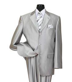 Men's High Quality 2 piece 3 Button Elegance Wool Feel Suit Silver 38R~56L #MilanoModa #ThreeButton