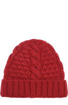 Кашемировая шапка фактурной вязки Loro Piana, бордового цвета, арт. FAG4690 в ЦУМ | Фото №1