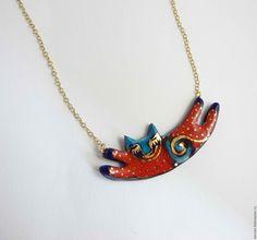 Купить Колье керамическое Chat Ester - комбинированный, Украшение ручной работы, украшение из керамики, колье