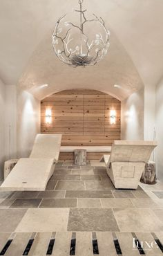 2. Heated Loungers  Bradford Products' heated loungers are a highlight in this home spa, which has a massage room, dry sauna and steam room.