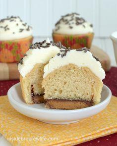 Reese's Fluffernutter Cupcakes - peanut butter cupcakes with a hidden peanut butter cup and topped with marshmallow butter cream