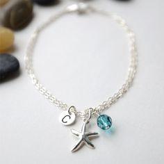Starfish Bracelet, Personalized Bracelet, Beach Wedding, Bridesmaids Gift, Mothers Bracelet, Sterling Silver, Birthstone, Nautical.. $27.50, via Etsy.