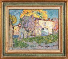 Adjugé 6 000 euros par Bérard-Péron-Schintgen à Lyon le 1 octobre 2015 : Victor CHARRETON (1864-1934) Coup de soleil sur la ferme. Huile sur carton. Signé en bas à gauche. 37x46 cm. OH.